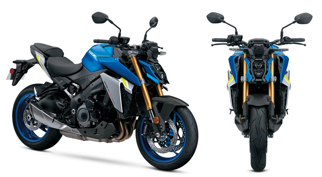 The side 3/4 and front views of a blue-and-silver 2022 Suzuki GSX-S1000