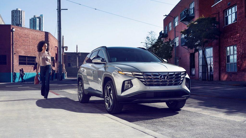 The 2022 Hyundai Tucson parked on the street