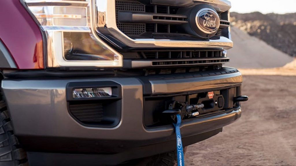 Close up of the Ford F-250 Super Duty with the Ford Performance Warn Winch
