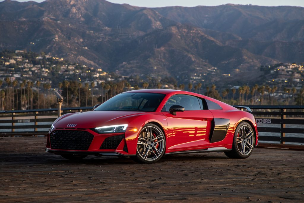 An image of a red Audi R8 outdoors.