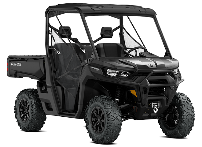 A Can-Am Defender side-by-side UTV with a rear utility bed
