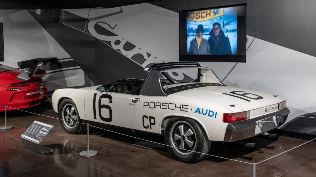 Porsche 914 set up for racing with numbers and no roof.