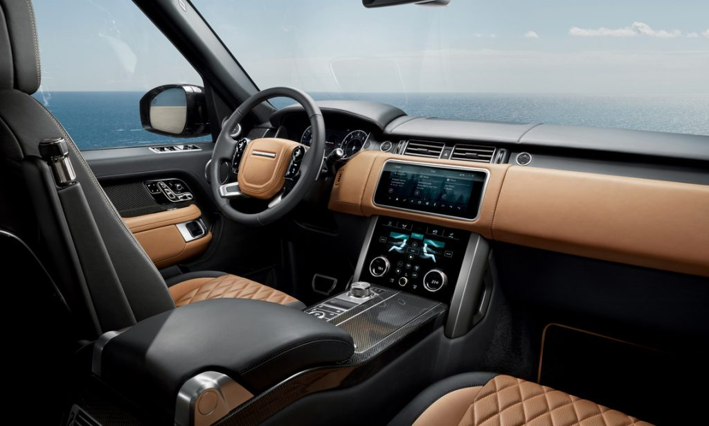 interior of a range-topping 2021 Land Cruiser Range Rover with quilted brown leather