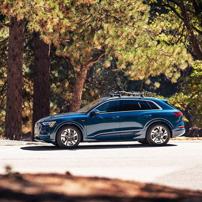 side view of a blue 2021 Audi e-tron on a scenic forest road