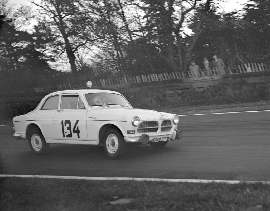 A Volvo Amazon takes a corner at the 11th RAC International Rally