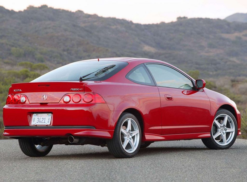 a rear shot of the 2005 Acura RSX Type S in red