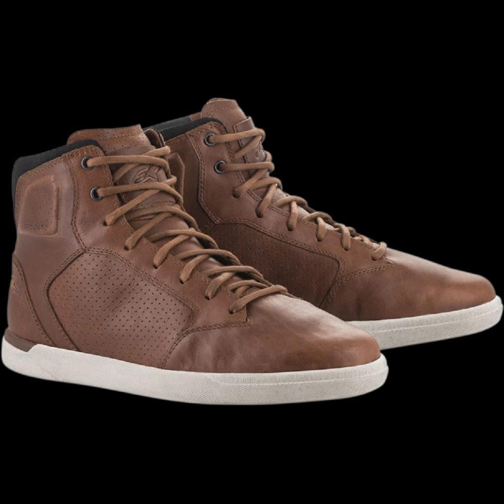 A pair of brown-leather Alpinestars J-Cult motorcycle shoes