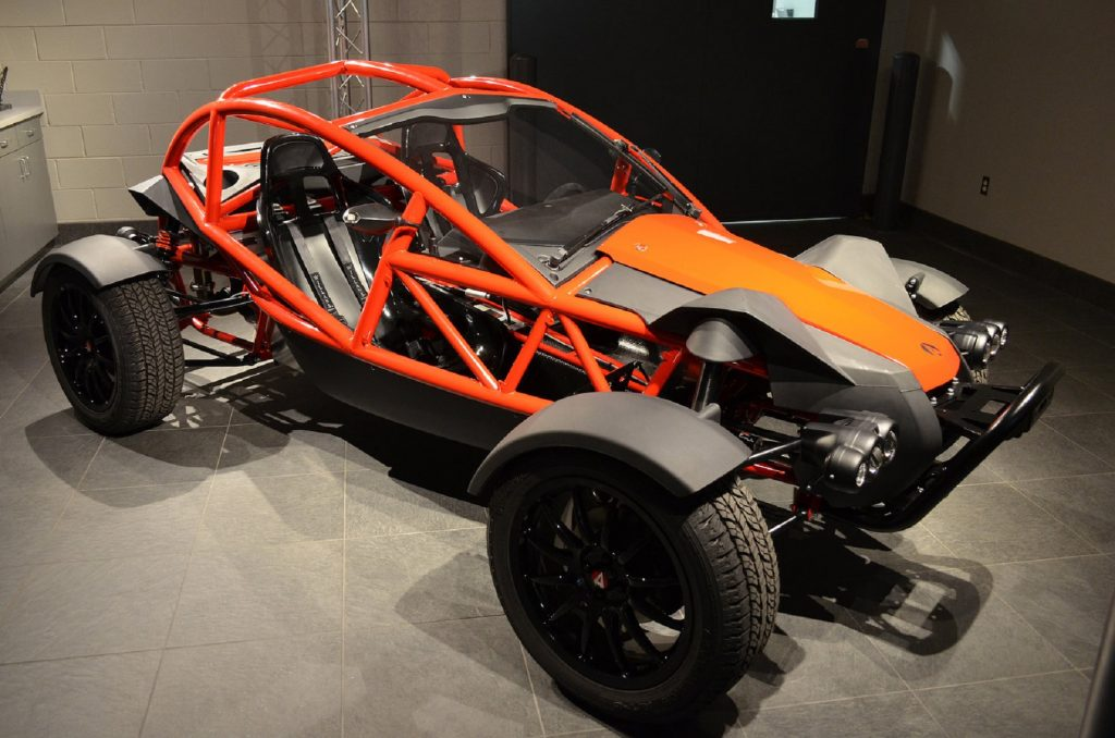 A red-caged Ariel Nomad Sport in a garage