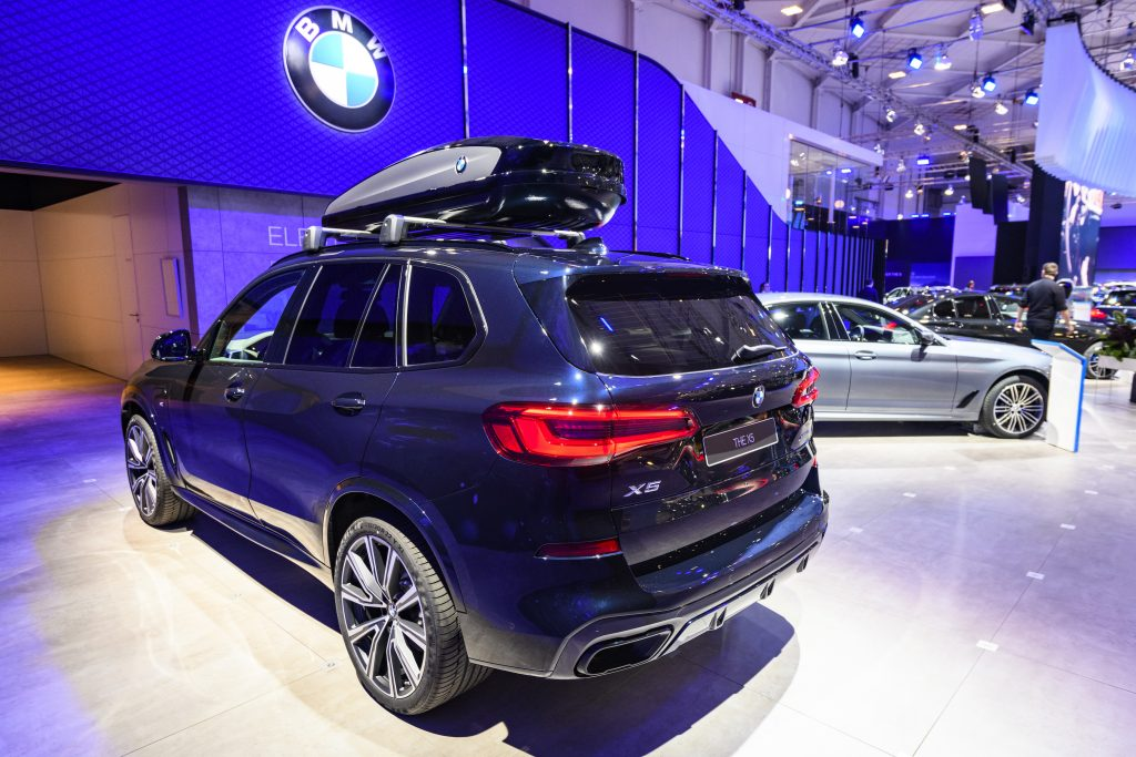 BMW X5 is a midsize luxury SUV on display at Brussels Expo