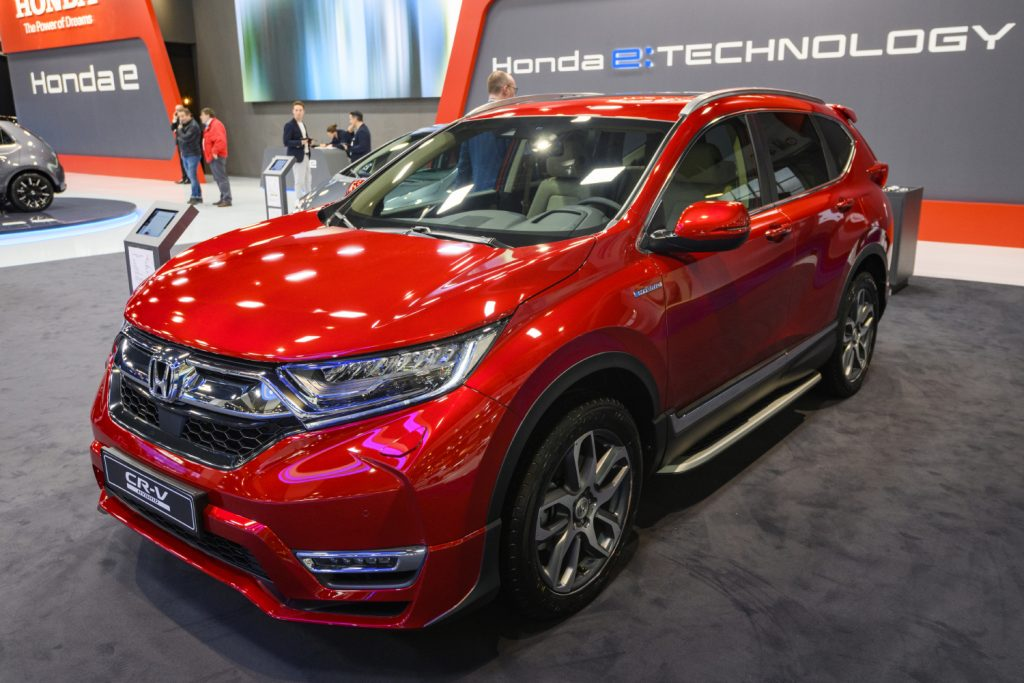 A red Honda CR-V sits on display at the Brussels Expo