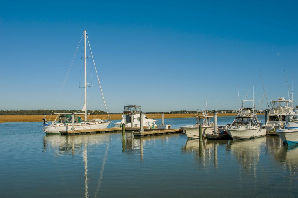 A marina with boats along the Intracoastal Waterway at Edisto Island in South Carolina, USA.