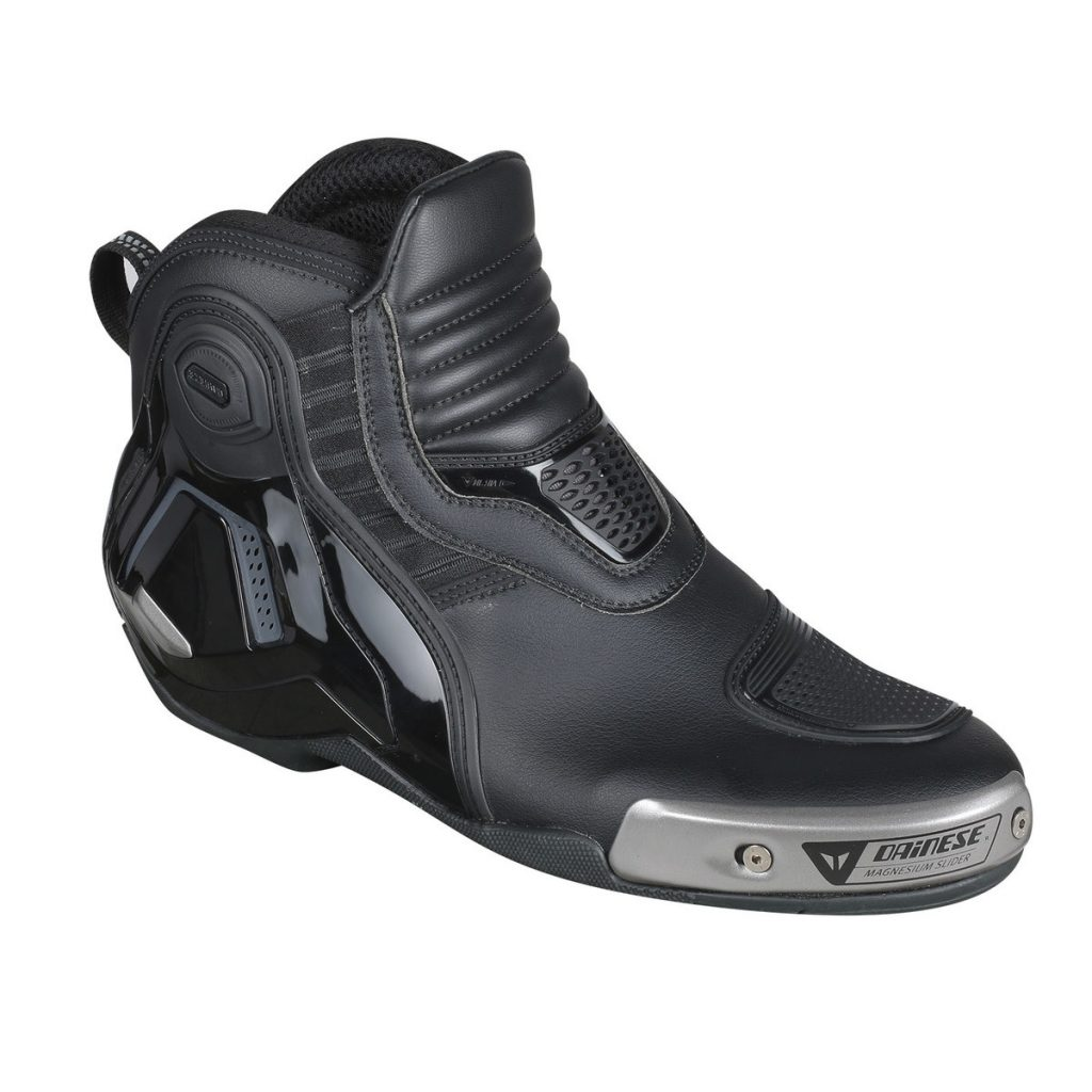 A black-leather Dainese Dyno Pro D1 motorcycle shoe