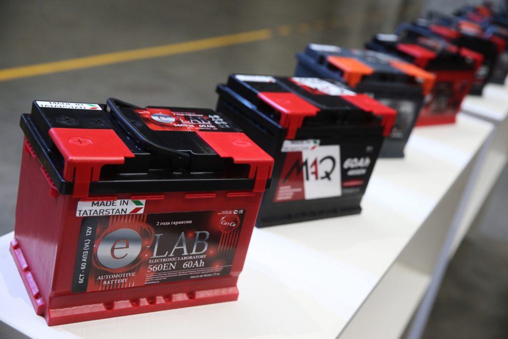 Diesel truck batteries in a row