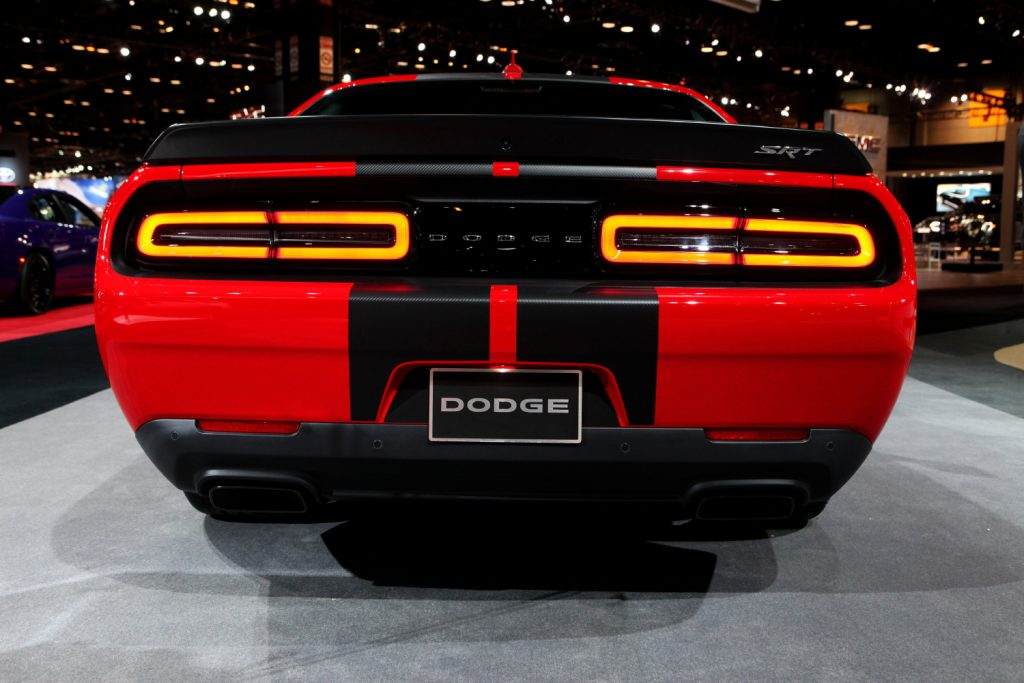 A Dodge Challenger SRT Hellcat on display at an auto show