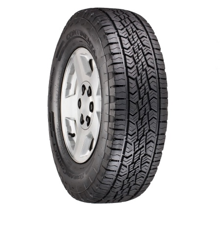 a single continental terraincontact all terrain tire in a press photo against a white backdrop