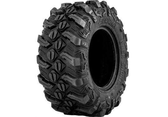 the Sedona Buck Snort in a press photo against a white backdrop displays the tread of one of the leading new ATV tire options