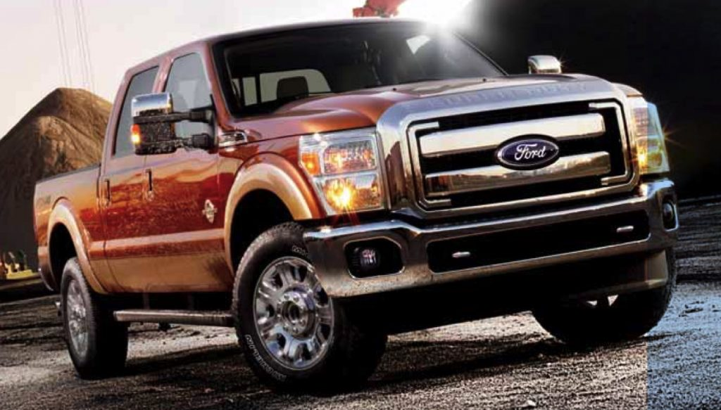 a 2012 ford F-350 pickup truck showing off its wide stance