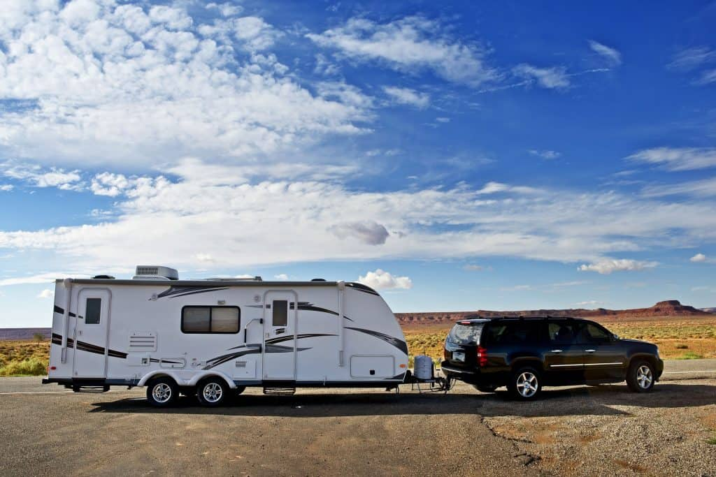 towing a tralier RV camper with an SUV