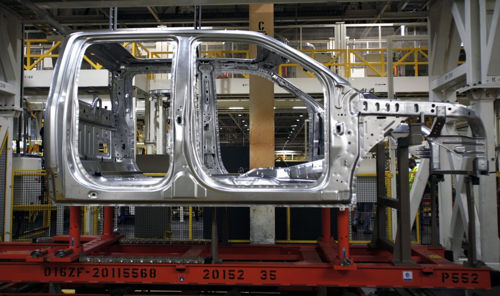 A Ford F-150 being assembled at a plant that will soon make electric pickup trucks