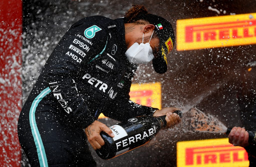 Formula 1 driver Lewis Hamilton on the podium
