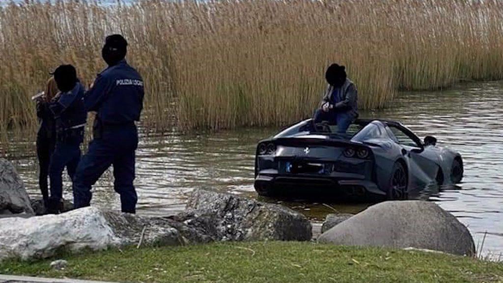 Ferrari 812 sitting in Lake Garda