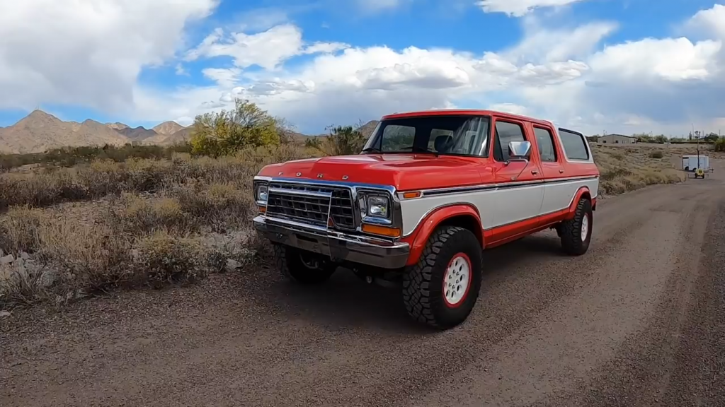 Restomod 1979 Ford Bronco in red with all Ford Raptor parts