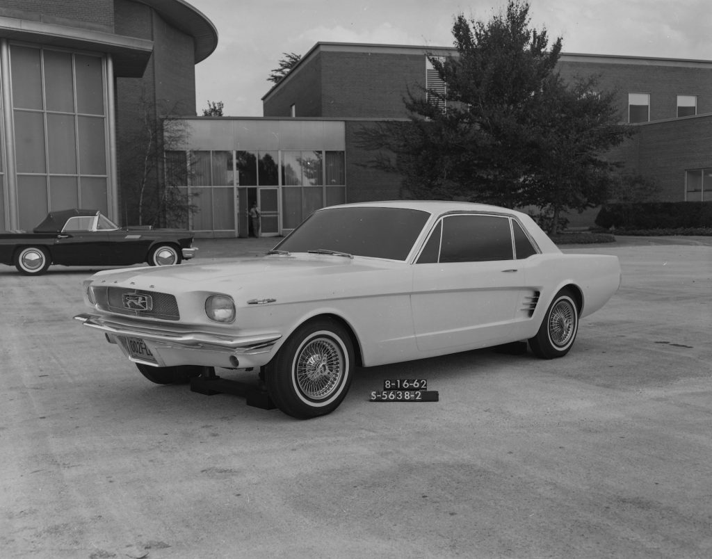 An image of a Ford Mustang prototype parked outdoors.