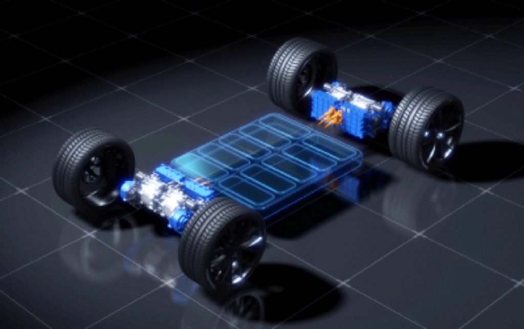 Four Yamaha IPMSM electric crate motors installed on a hypothetical skateboard chassis