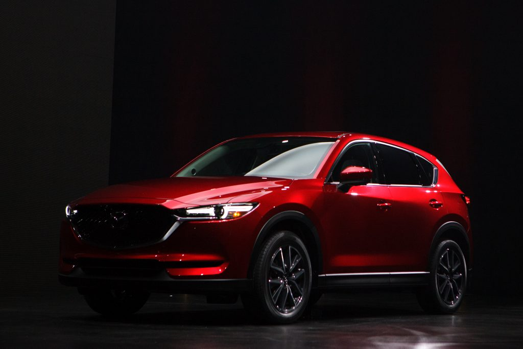 2016 Mazda CX-5 in red. One of the list toppers for Consumer Reports Most fuel-efficient SUVs
