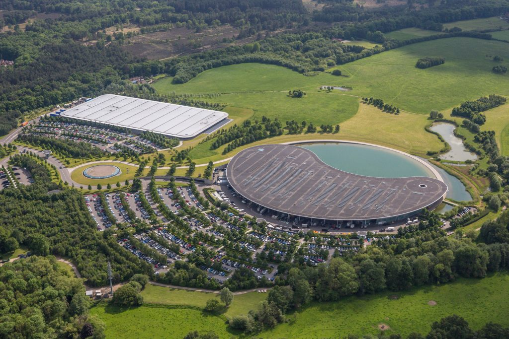 An image of the McLaren Technology Centre from the sky.