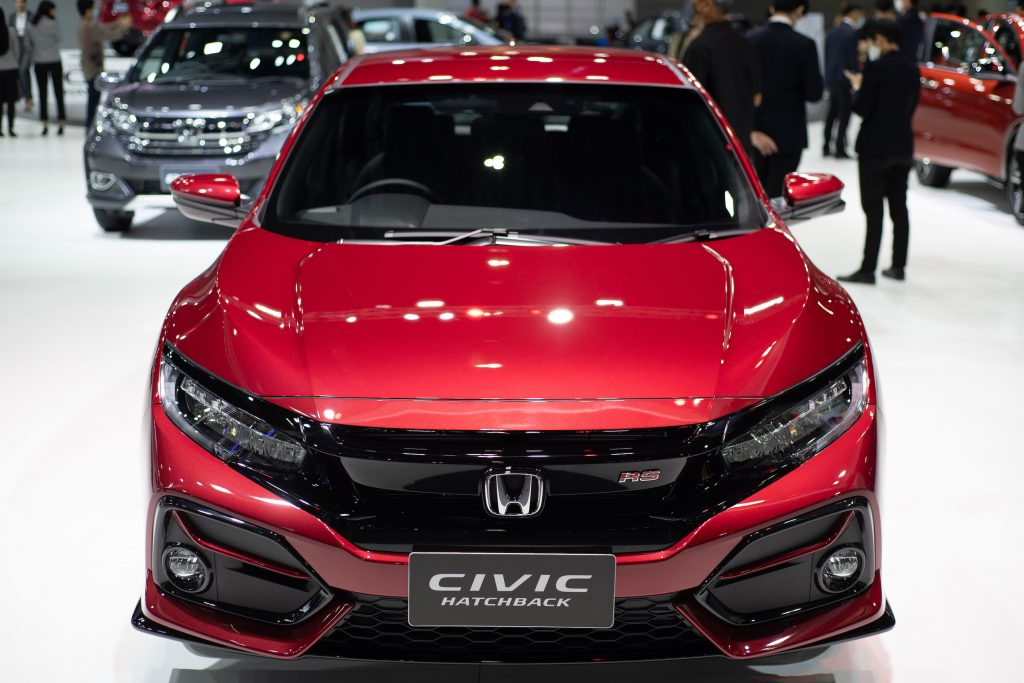 Red Honda Civic Hatchback 2020 on display during the Thailand International Motor Expo 2020