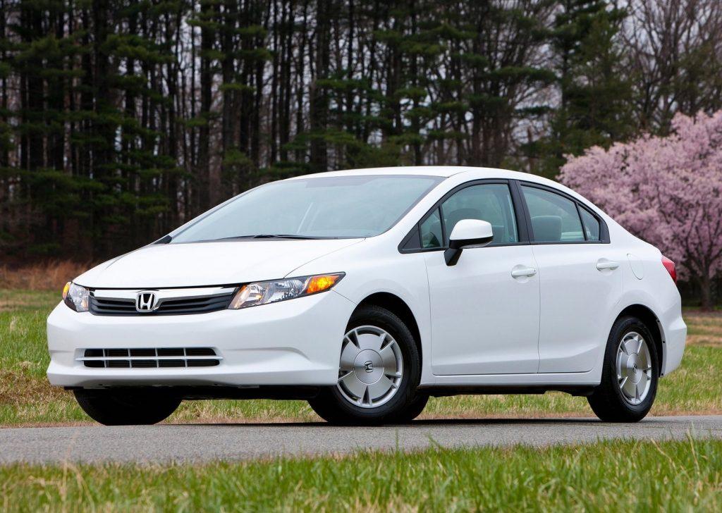 a front shot of a white 2012 Honda Civic HF