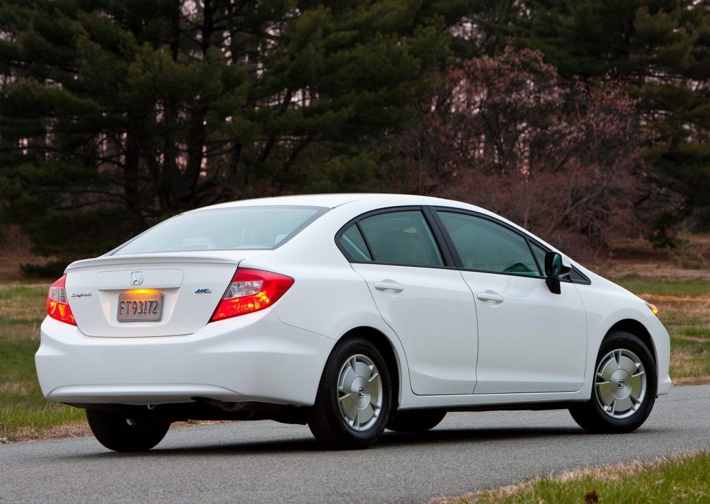 a rear shot of a white 2012 Honda Civic HF
