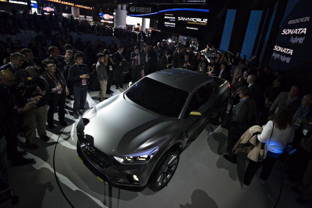 A gray Hyundai Motor Co. Santa Cruz Concept vehicle is displayed during the 2015 North American International Auto Show