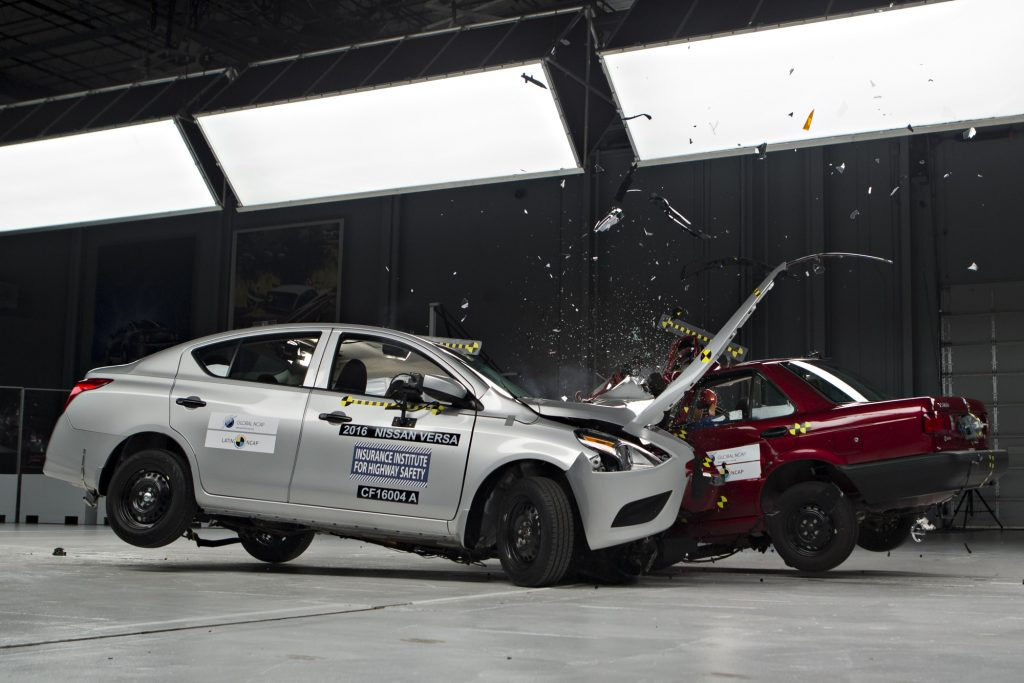 Crash testing cars mid-collision