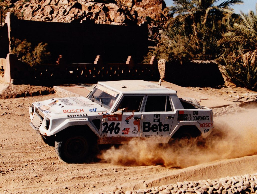 An image of a Lamborghini LM002 Rally pictured back in the 1980s.