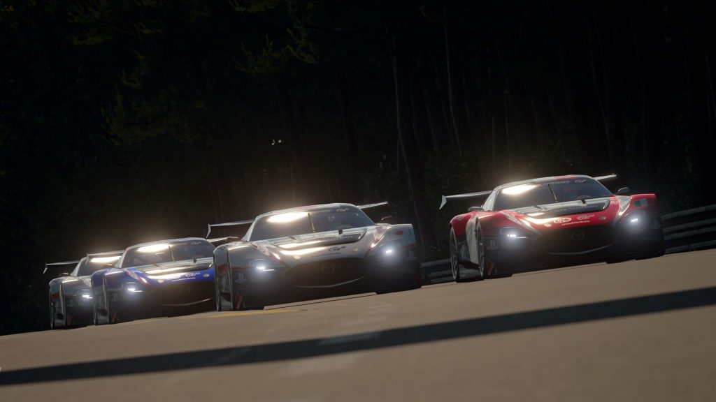 In-game footage of virtual race cars competing in the FIA Gran Tursimo World Tour 2020 Nations Cup Finals