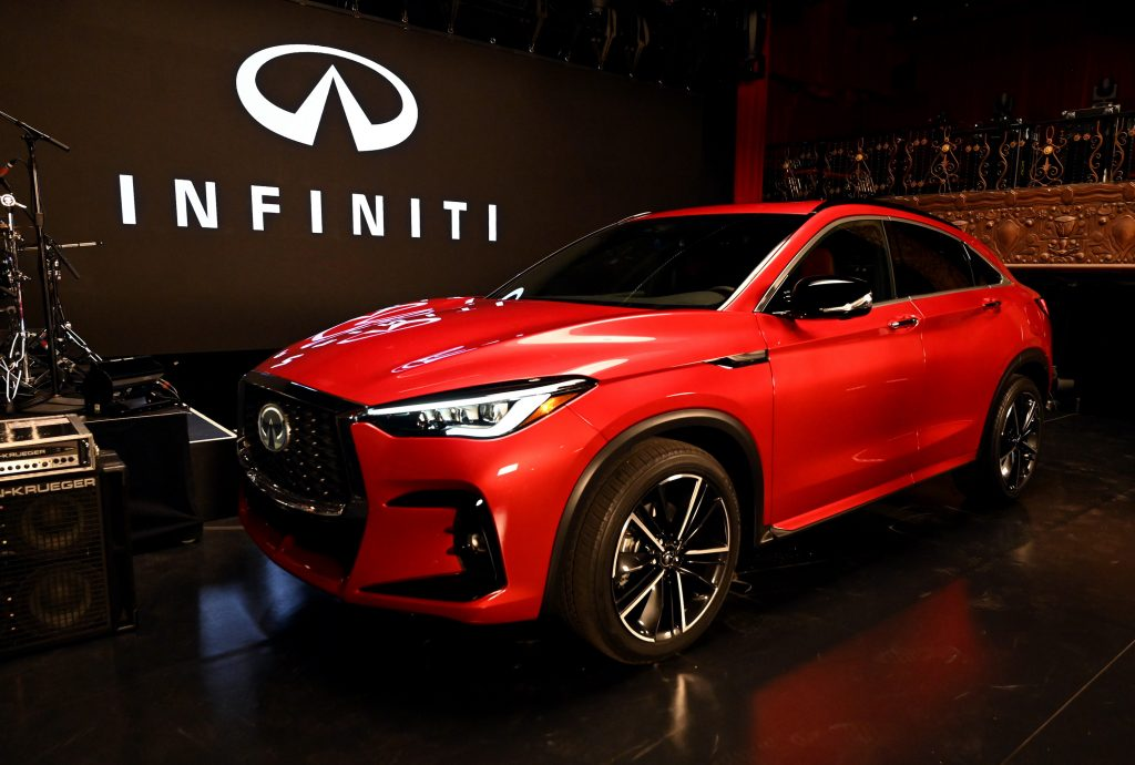The red 2022 Infiniti QX 55 is seen during Live Nation: Aloe Blacc + Infiniti at The Belasco