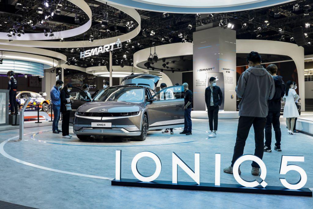 A Hyundai Ioniq 5 SUV ok display
