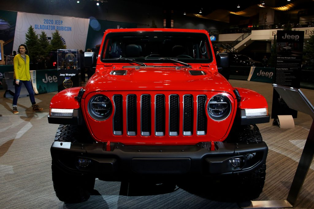Red 2020 Jeep Wrangler Rubicon is on display at the 112th Annual Chicago Auto Show at McCormick Place