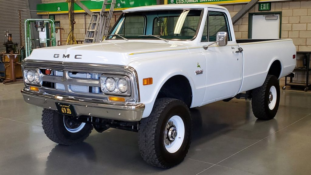 1969 GMC pickup truck with a swapped John Deere diesel engine