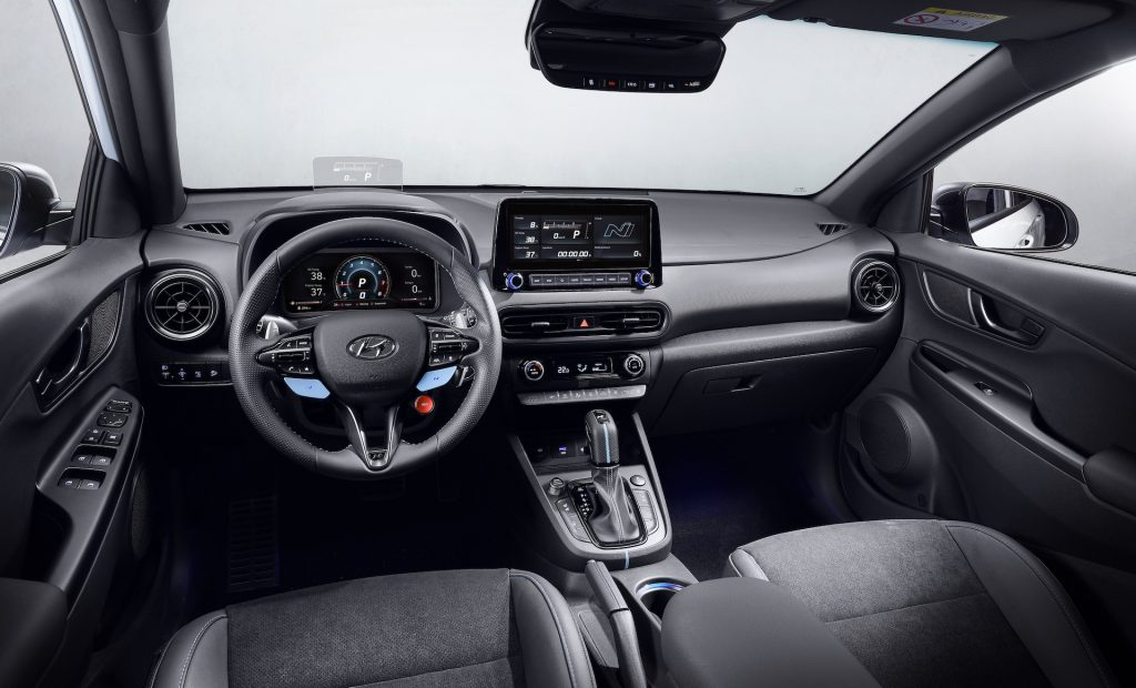 An image of a Hyundai Kona N in a photography studio.