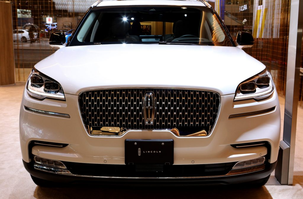 White 2020 Lincoln Aviator is on display at the 112th Annual Chicago Auto Show