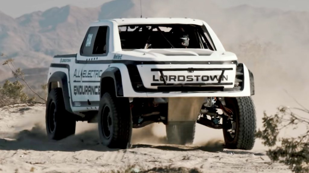 2021 Lordstown Endurance Race Truck in the sand