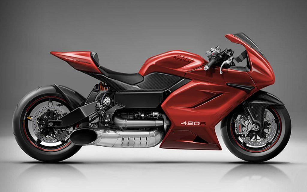 The side view of a red MTT 420 RR turbine motorcycle