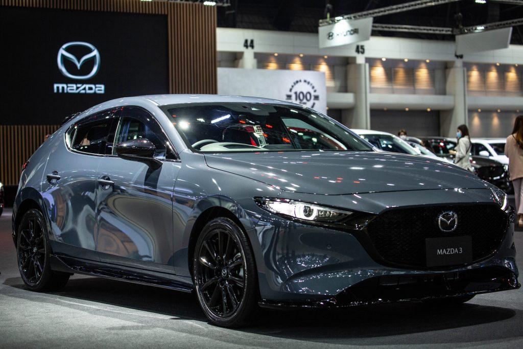 A gray Mazda3 at the Mazda stand during the 42nd Bangkok International Motor Show 2021
