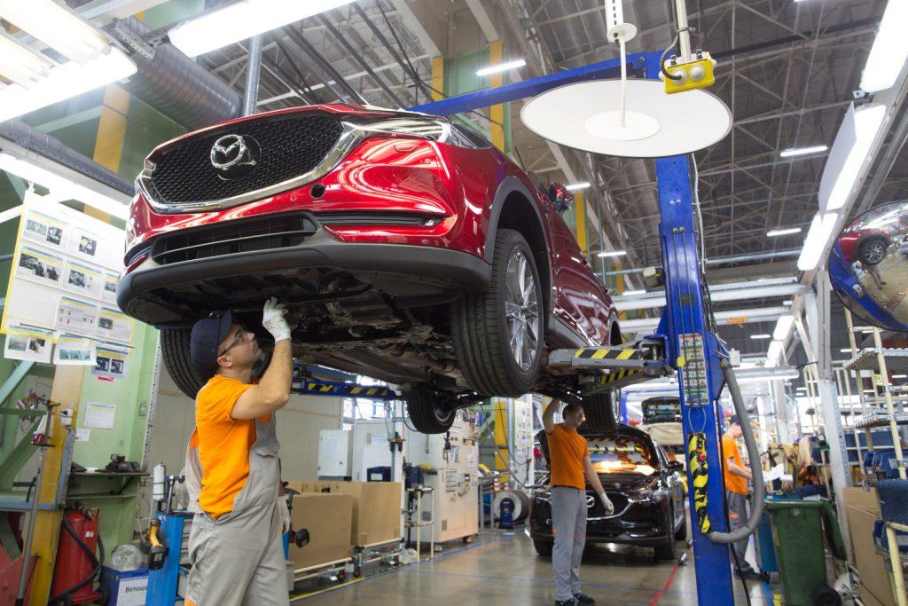 A Mazda CX-5 under maintenance