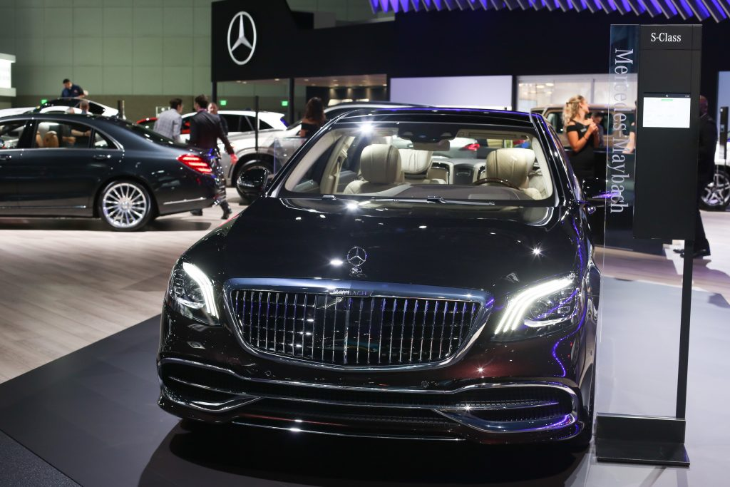 The Mercedes-Maybach S-Class sedan vehicle is displayed during AutoMobility LA ahead of the Los Angeles Auto Show