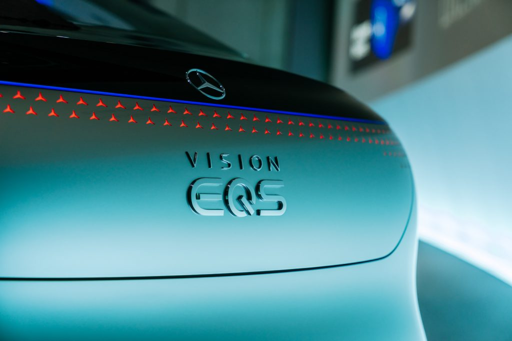 The Mercedes EQS on display