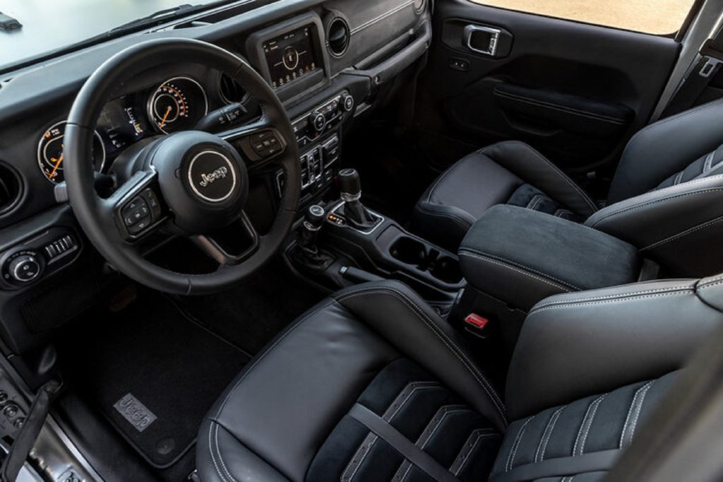 The black-Nappa-leather-upholstered front seats and dashboard of a Next Level Jeep Gladiator 6x6